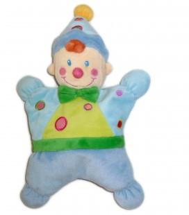 Doudou coussin semi plat CLOWN Lutin Garçon bleu vert NICOTOY Kiabi Baby Avda