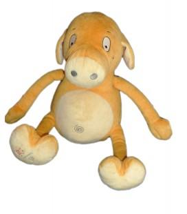COCHON jaune orange Gros bidon - Peluche d'activité - BERCHET Favre - Parle Change Rigole H 32 cm