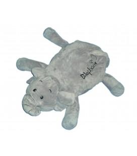 Doudou Peluche Coussin ELEPHANT Gris brodé Couché L 45 cm Max et Sax