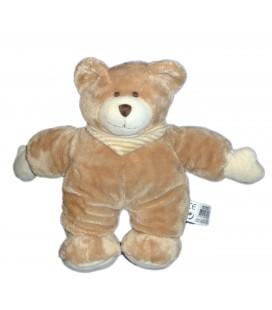 Doudou peluche OURS marron beige rayures - Playkids - CMI - 26 cm REF23100191