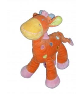 Doudou GIRAFE rose orange MOTS D'ENFANTS Siplec Leclerc H 25 cm 5504
