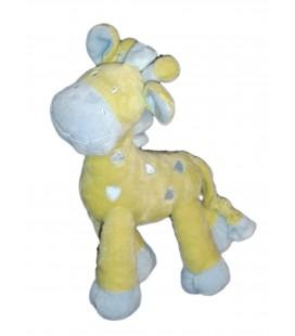Doudou girafe bleue vert MOTS D'ENFANTS Siplec Leclerc 25 cm