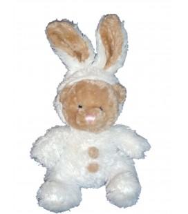 Peluche doudou OURS déguisé en Lapin blanc - PEEKO - H 22 cm