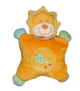 Doudou semi plat coussin LION orange POMMETTE