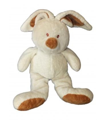 Peluche Doudou LAPIN blanc écru marron - AJENA - H 30 cm