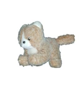 Peluche chat marron clair beige Boulgom 13 cm x 16 cm