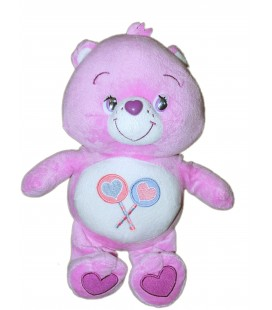 Peluche BISOUNOURS mauve CARE BEARS Groscadeau Care Bear 2 sucettes Whitehouse 32 cm