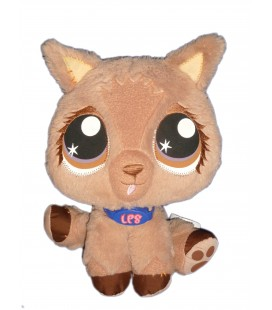 Doudou Peluche CHIEN Chat marron beige Littlest Pet Shop HASBRO 2007 H 24 cm