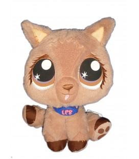 Doudou Peluche CHIEN Chat marron beige Littlest Pet Shop HASBRO 2007 H 24 cm