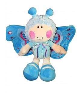 Doudou peluche PAPILLON bleu Lutin joues roses - H 40 cm