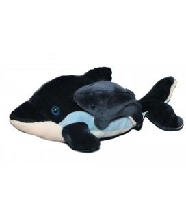 Peluche DAUPHIN bleu et son bébé - PARC ASTERIX - L 40 cm