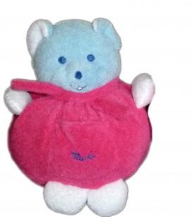 Doudou peluche ours boule rose fushia bleu blanc MUSTI de Mustela 20 cm