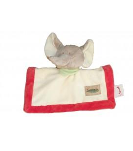 Doudou plat Carré ELEPHANT Bengy Jungle Beige Rouge Foulard Vert