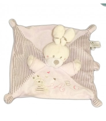Doudou LAPIN plat rose ABC attache sucette rayé marron NICOTOY