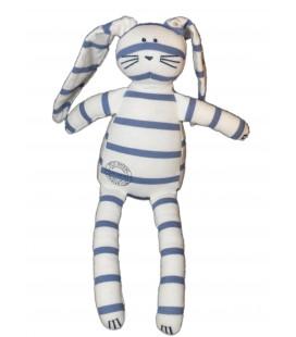 Doudou tissu Lapin blanc Rayures bleues - PETIT BATEAU - H 25 cm