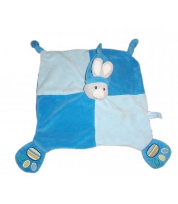 Doudou plat LAPIN bleu Bonnet - GIPSY - 2 noeuds