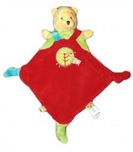Doudou plat rouge Winnie Oiseau Etiquettes Disney Baby Nicotoy 3 noeuds