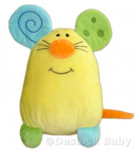Doudou peluche souris Jaune nez orange ALTHANS CLUB 30 cm