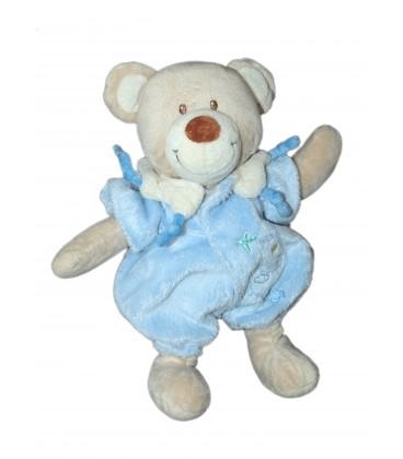 Doudou Peluche OURS beige Combinaison bleue - TEX Baby Carrefour - H 27 cm