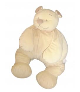 Grande Peluche doudou Pouf OURS Tonton jaune beige clair crême NOUKIES Noukie's H 50 cm assis