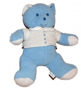 Doudou peluche OURS bleu MUSTI de Mustela 25 cm Polo blanc