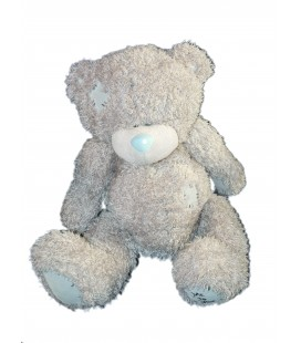 Peluche OURS gris Me To You - Assis 26 cm - Carte blanche