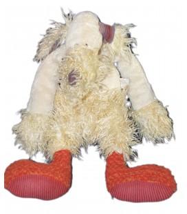 MOULIN ROTY - Doudou Peluche CHIEN Loup Beige - H 45 cm - Longs poils - Coeur chaussons rouges