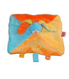 Doudou plat LAPIN orange bleu jaune NATTOU Jollymex Spirale Attache tétine