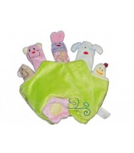 Doudou Marionnette à doigts - GIFI - Vert Animaux - 20 cm