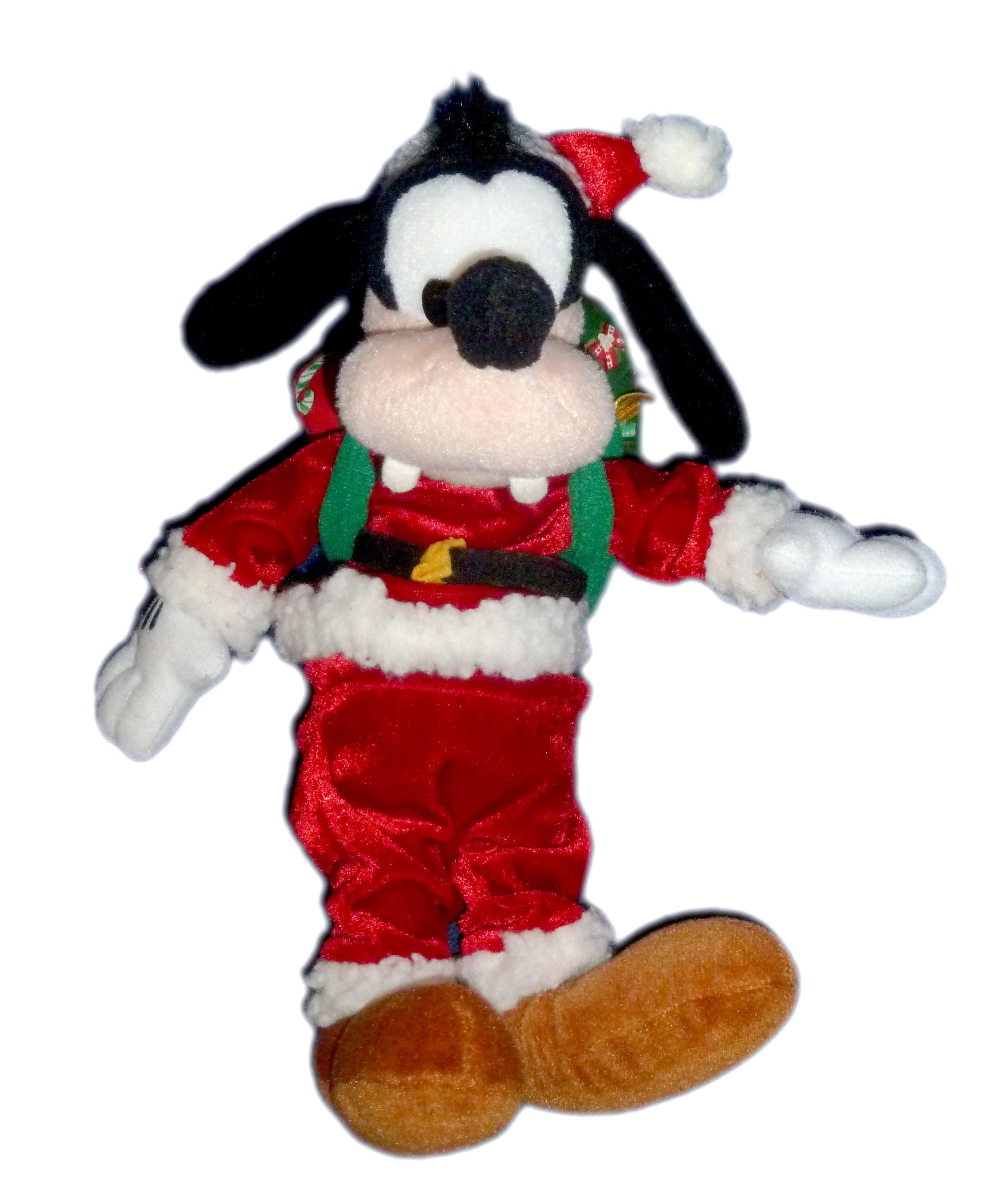Peluche Dingo Deguise Pere Noel Cadeaux H 25 Cm Disney Disneyland