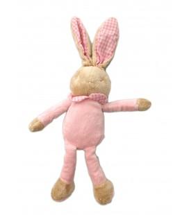 Doudou lapin rose col vichy bebe Laboratoires Klorane 38 cm