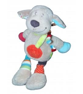 Doudou Peluche Mouton chien gris rond rouge 27 cm NICOTOY 570/0054
