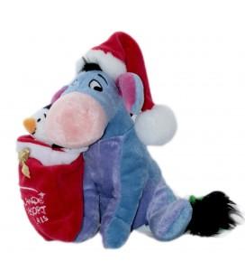 Doudou peluche BOURRIQUET - X-mas Eeyore - Pingouin Hotte Noël - Disneyland H 18 cm